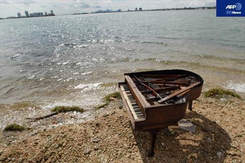 マイアミの砂州に謎のグランドピアノ