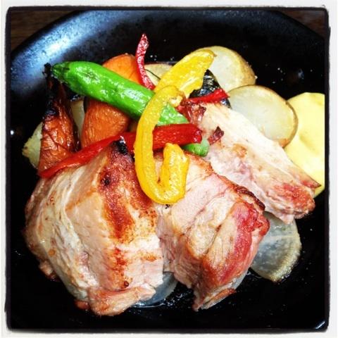 豚のコンフィとオーブン野菜