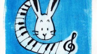 青い鍵盤うさぎイラスト