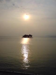 宍道湖と夕日